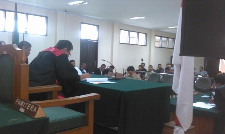 Suasana sidang Mantan Dirut PT Banten Global Development (BGD) Ricky Tampinongkol, di pengadilan Tipikor Serang