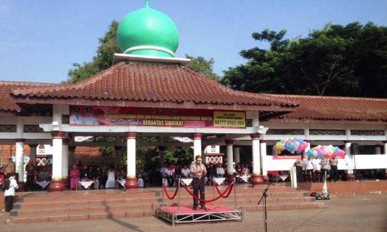 Kapolda Banten, Brigjen Pol Boy Rafli Amar saat berikan sambutan apel di Alun-alun Barat, Kota Serang. (Foto:TitikNOL)