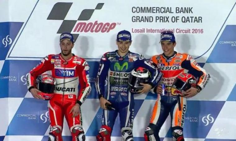 Andrea Dovizioso, Jorge Lorenzo dan Marc Marquez saat di podium. (Dok:net)