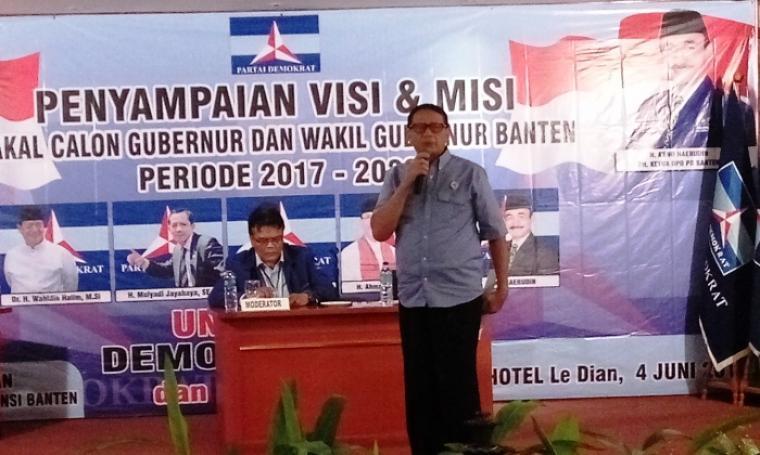 Bakal Calon Gubernur Banten, Wahidin Halim saat menyampaikan visi dan misi. (Foto: TitikNOL)