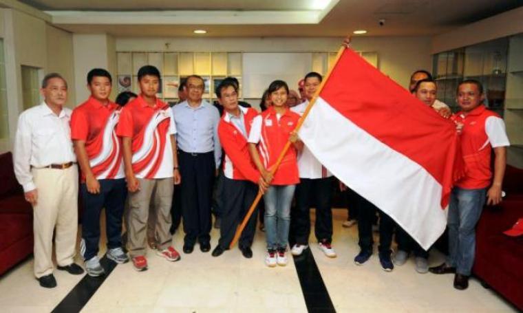 Acara pelepasan kontingen Indonesia yang akan berangkat ke Rio de Janeiro untuk ajang Olimpiade 2016 di kantor Komite Olimpiade Indonesia (KOI), Rabu (27/7/2016). (Dok: liputan6)