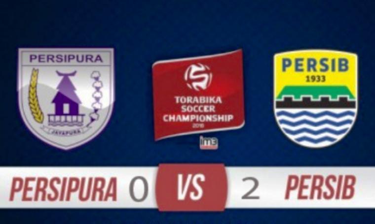 Hasil pertandingan Persipura vs Persib dalam lanjutan turnamen Torabika Soccer Championship 2016.