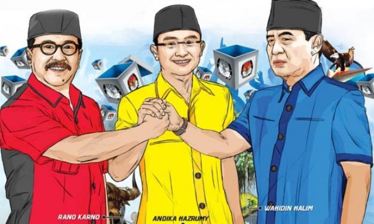Ilustrasi Rano Karno, Andika Hazrumy dan Wahidin Halim menuju Pilgub Banten 2017. (Dok: sahabatandika)