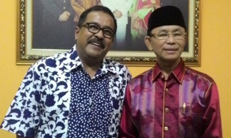 Gubernur Banten, Rano Karno dan mantan Bupati Serang, Ahmad Taufik Nuriman. (Dok: hastagnews)