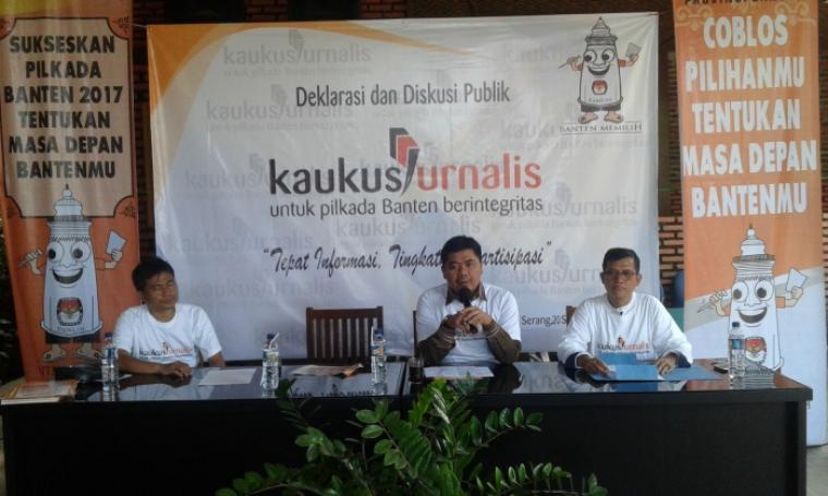 Kegiatan Deklarasi dan Diskusi Kaukus Jurnalis Banten untuk Pilkada Banten berintegritas. (Foto: TitikNOL)
