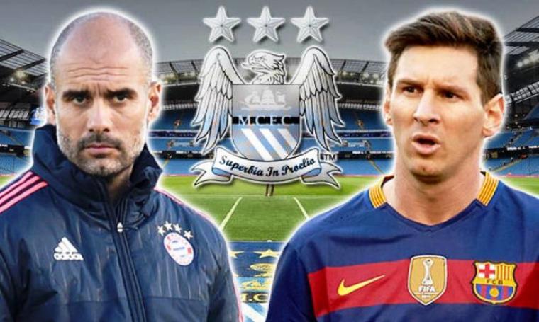 Pep Guardiola dan Lionel Messi. (Dok: express)