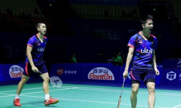Pasangan ganda putra Indonesia, Markus Gideon/Kevin Sanjaya. (Dok: superball)