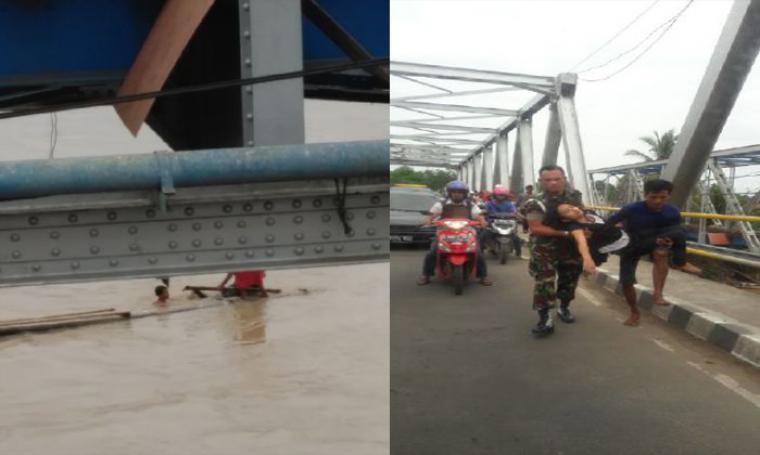 Penyelamatan dramatis yang dilakukan warga, saat seorang wanita muda terjun dari atas jembatan ke sungai Ciujung. (Foto: Ist)
