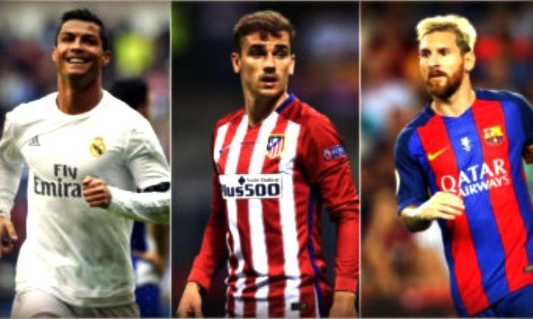 Ketiga calon pemain terbaik dunia: Cristiano Ronaldo, Antoine Griezmann dan Lieonel Messi. (Dok: sepakbola)
