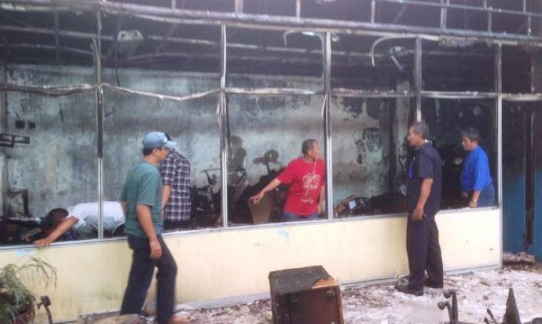 Kondisi Rumah Sakit Krakatau Medika Kota Cilegon pasca kebakaran. (Foto: TitikNOL)
