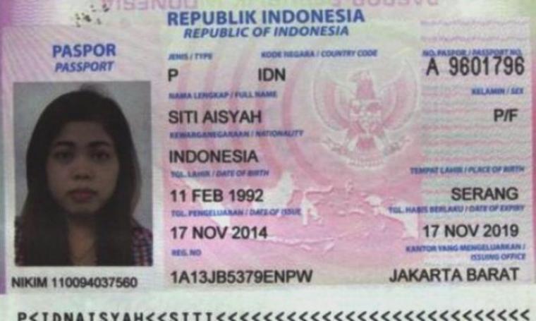 Paspor atas nama Siti Aisyah. (Dok: tribunnews)