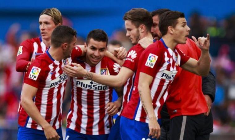 Selebrasi pemain Atletico Madrid usai mencetak gol. (Dok: Waktuku)