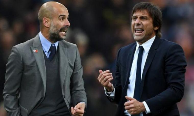 Pep Guardiola dan Antonio Conte. (Dok: mirror)