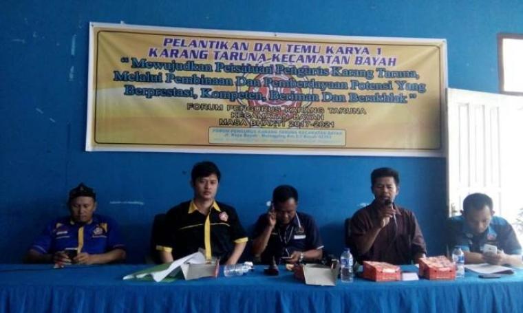 Forum Pengurus Karang Taruna Kecamatan Bayah, Kabupaten Lebak dilantik. Pelantikan dilakukan oleh Camat Bayah Suyanto, di aula kantor Kecamatan setempat, Rabu (3/5/2017) (Foto: TitikNOL)