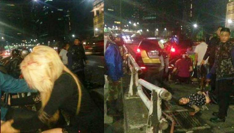 Kondisi Sheila Marcia dan Vanesha Melodya usai terjadinya kecelakaan. (Dok: net)
