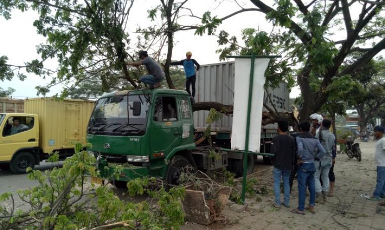Truk trailer tertimpa pohon tumbang di Jalan Lingkar Selatan Cilegon. (Foto: TitikNOL)
