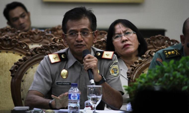 Kepala Kanwil BPN Banten, Yusuf Purnama saat memberikan keterangan terkait pembayaran ganti rugi lahan untuk Tol Serang - Panimbang. (Foto: TitikNOL)