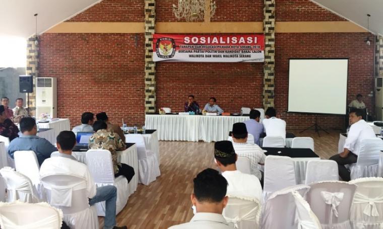 Sosialisasi tahapan pilkada Kota Serang 2018 yang digelar KPU Kota Serang. (Foto: TitikNOL)