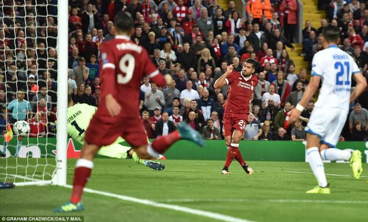 Emre Can saat mencetak gol bagi Liverpool. (Dok: newsaddup)
