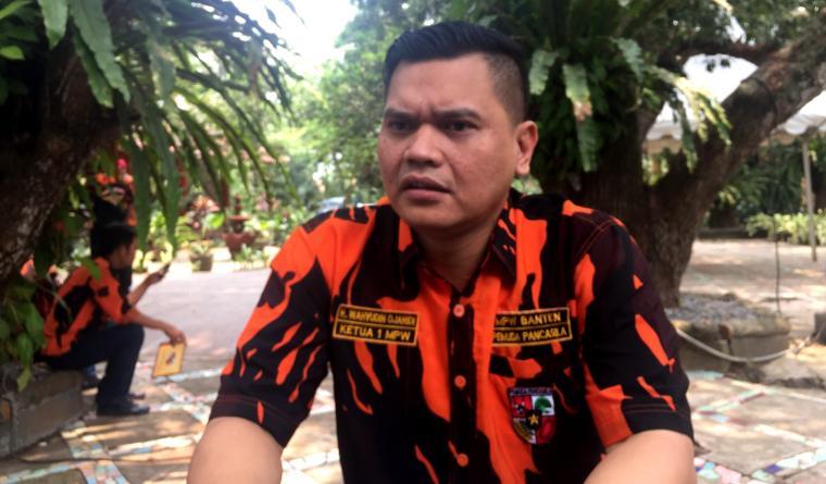 Bakal calon Wali Kota Serang Wahyudin Djahidi saat memberikan keterangan kepada wartawan. (Foto: TitikNOL)
