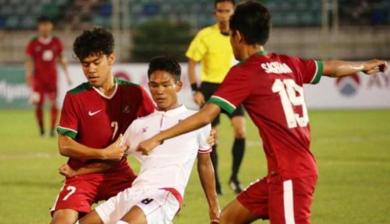Indonesia vs Myanmar. (Dok: tribunnews)