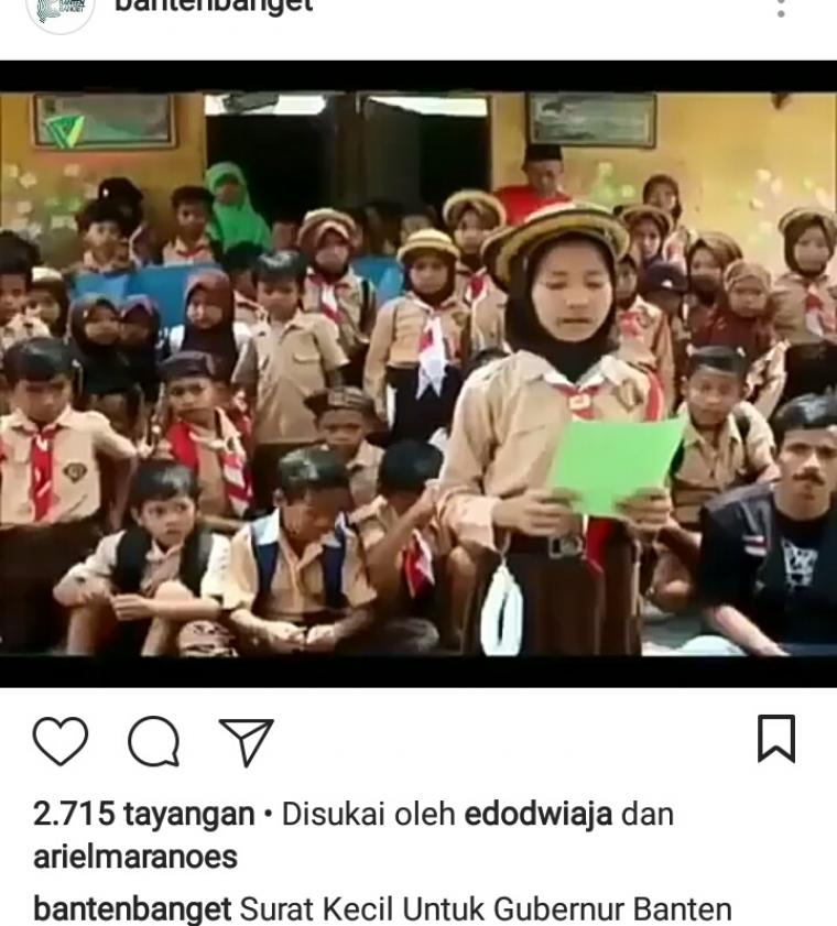 captur video siswi SD yang viral di media sosial Instagram. (Dok: net)