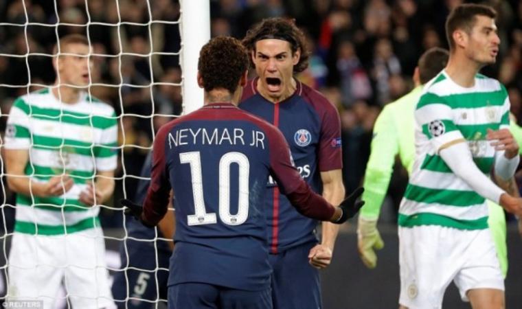 Selebrasi Neymar dan Cavani usai mencetak gol ke gawang Celtic. (Dok: net)