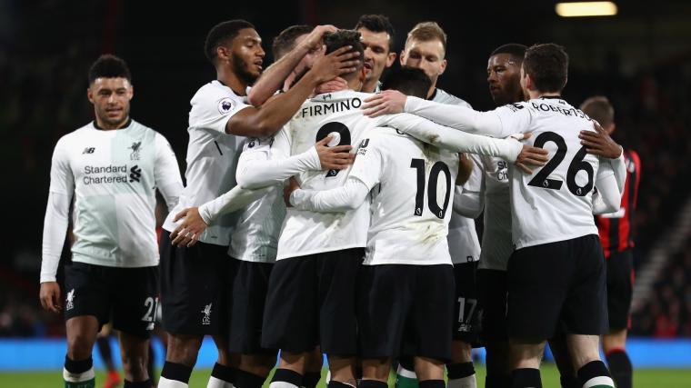 Para pemain Liverpool merayakan kemenangan usai menghancurkan Bournemouth 4-0. (Dok: skysports)