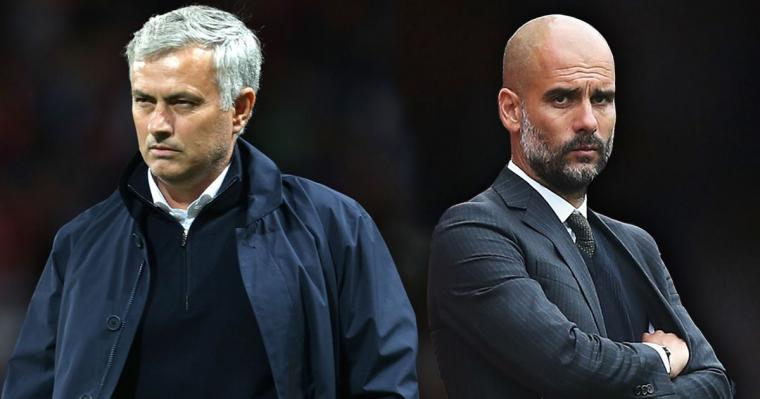 Manajer Manchester United Jose Mourinho dan Manajer Manchester City Josep Guardiola. (Dok: mirror)