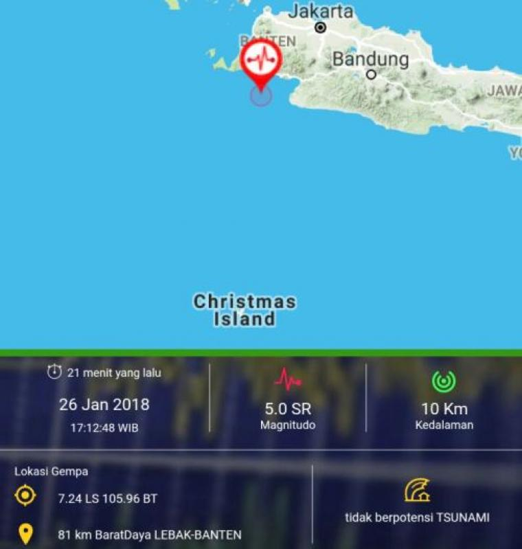 Gempa berkekuatan 5,0 SR guncang wilayah Lebak Selatan Banten, Jumat (26/1/2018). (Foto: BMKG)