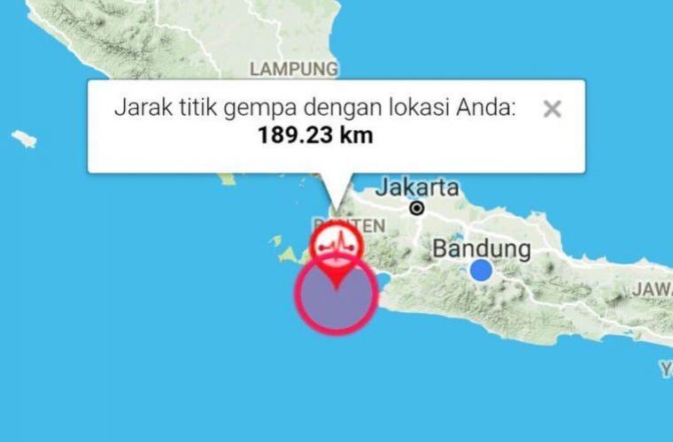 Gempa berkekuaratan 6,4 SR mengguncang sejumlah wilayah di Banten. (Foto: BMKG)