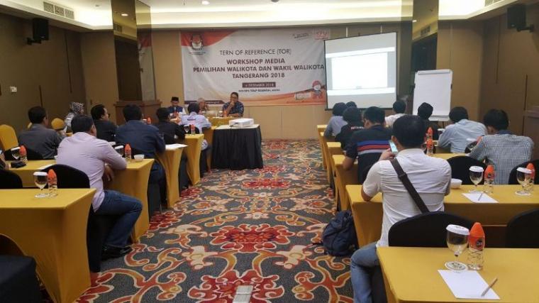 Komisi Pemilihan Umum (KPU) Kota Tangerang menggelar workshop dengan pimpinan media yang di gelar di Grand Tulip Hotel. (Foto: TitikNOL)