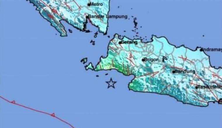 Gempa berkekuatan 6,4 SR Gempa berada di 7.21 LS - 105.91 BT kedalaman 10 Km.(Dok: BMKG)