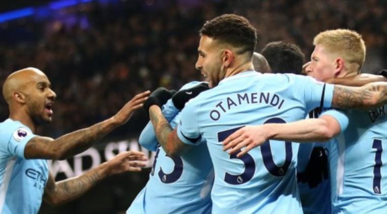 Selebrasi pemain manchester city usai cetak gol. (Dok: Gilabola)