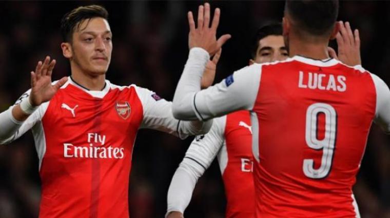 Selebrasi pemain Arsenal usai cetak gol. (Dok: Tribunnews)