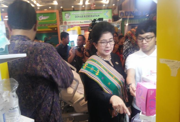 Menteri Kesehatan Republik Indonesia Nila Moeloek saat menghadiri Rakernas 2018 di ICE BSD Serpong, Tangerang Selatan. (Foto: TitikNOL)