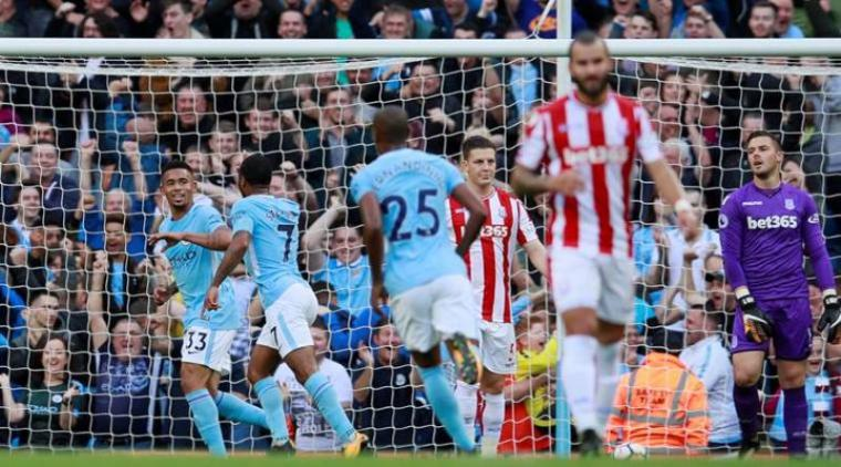 Selebrasi pemain Manchester City usai mencetak gol. (Dok: Theindianexpresst)