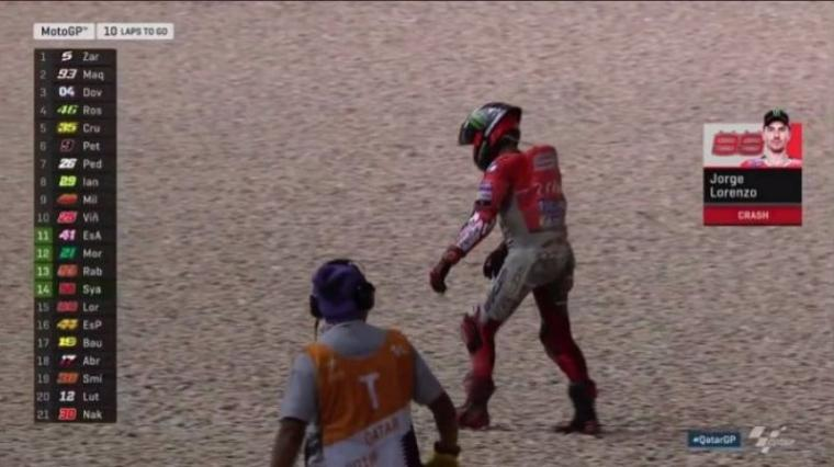 Lorenzo terjatuh di MotoGP Qatar. (Dok: Tribunnews)