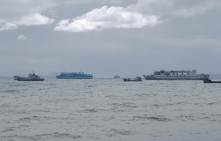 Kondisi cuaca di Perairan Merak. (Foto: TitikNOL)