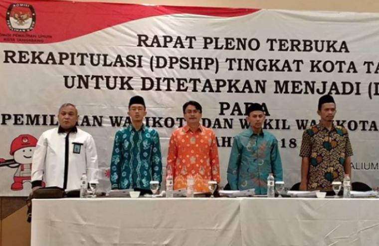 Rapat pleno terbuka Data Pemilih Tetap (DPT) Komisi Pemilihan Umum (KPU) Kota Tangerang. (Foto: TitikNOL)