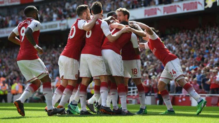 Selebrasi sejumlah pemain Arsenal usai cetak gol. (Dok: 90Min)