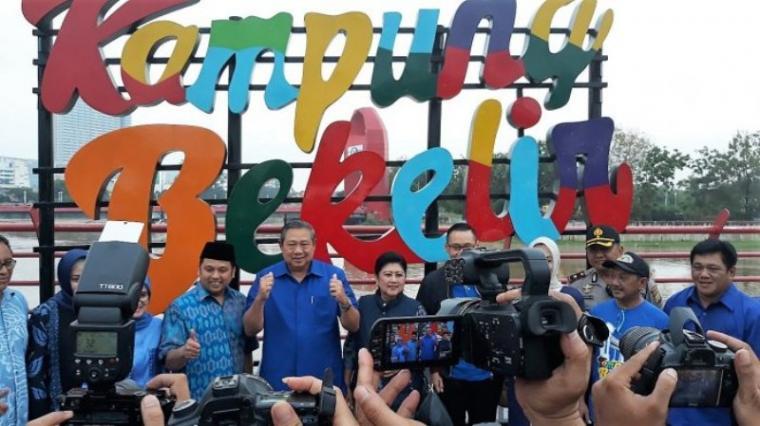 Ketua Umum Partai Demokrat, Susilo Bambang Yudhoyono saat kunjungi Kamping Bekelir Kota Tangerang. (Dok: Tribunnews)