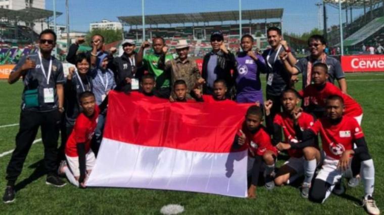 Tim Garuda Baru Indonesia Diajang Piala Dunia Anak Jalanan, di Lokomotiv Stadium, Moskow, Rusia. (Dok: Tabloidbintang)