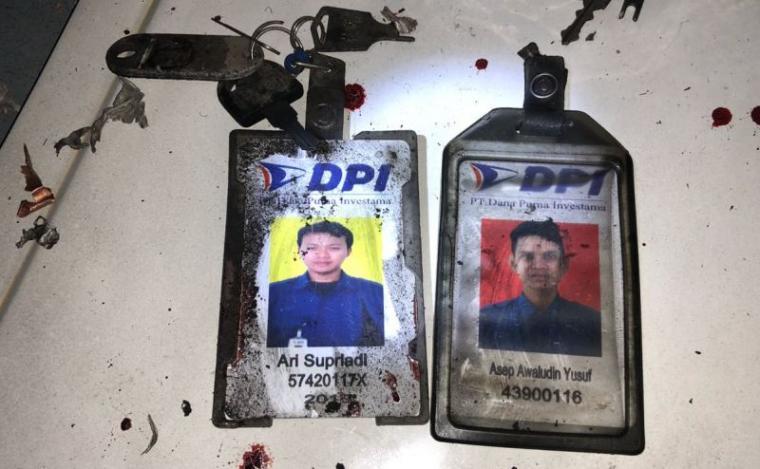 Kartu nama korban ledakan di Wisma BCA Serpong. (Foto: TitikNOL)