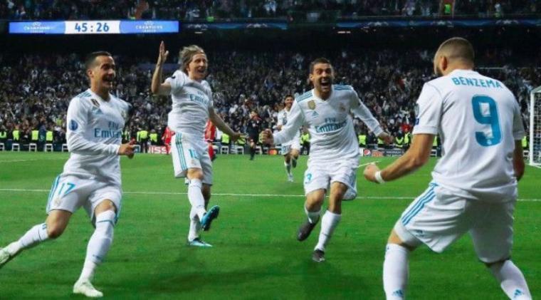 Pelebrasi pemain Real Madrid, Karim Benzema usai cetak gol. (Dok: Kompas)