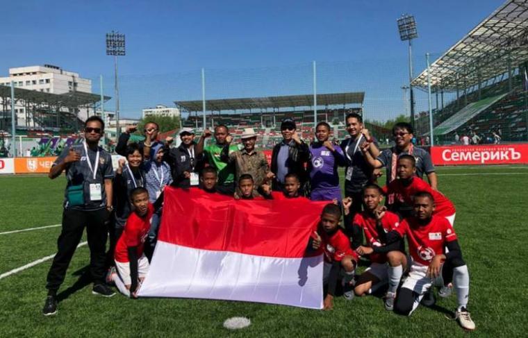 Tim Indonesia 'Garuda Baru' diajang Street Child World Cup (SCWC) 2018 yang berlangsung di Moskow. (Dok: Merahputih)