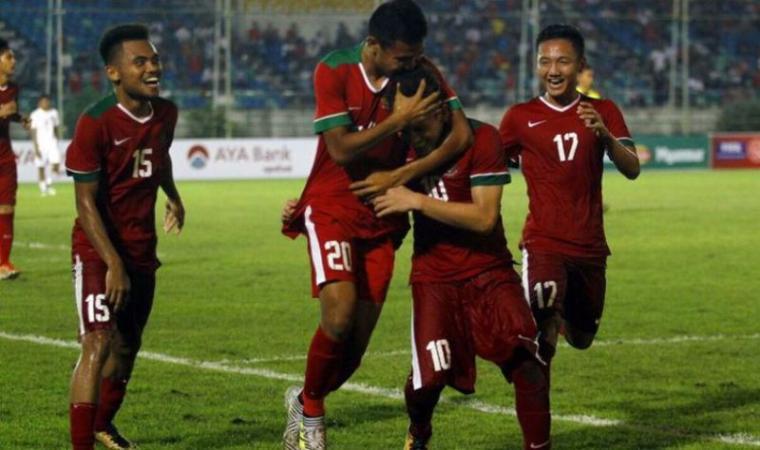 Selebrasi sejumlah pemain Timnas Indonesia usai cetak gol. (Dok: Kabarbola)