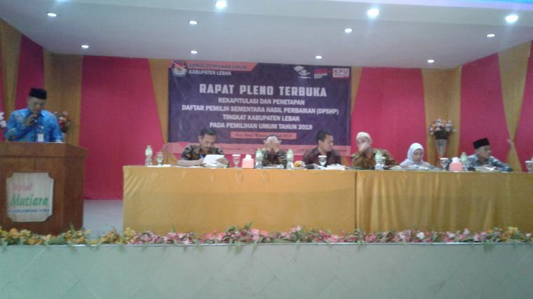 KPU Lebak gelar rapat pleno terbuka penetapan DPSHP Pemilu 2019. (Foto: TitikNOL)