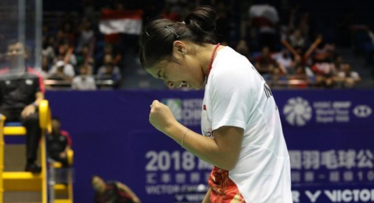 Kalahkan Wakil Tuan Rumah, Gregoria Melaju ke Babak Kedua China Open 2018