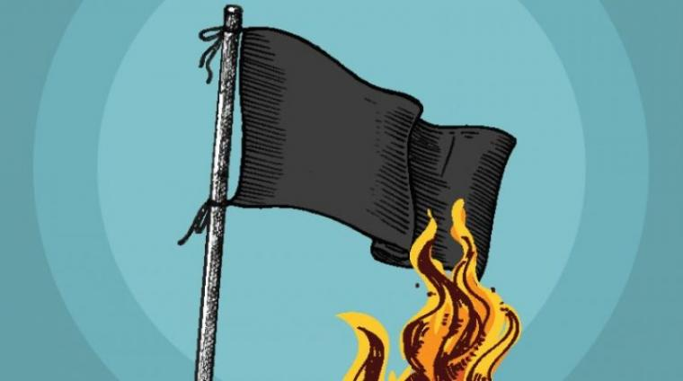 Ilustrasi pembakaran bendera. (Dok: Kricom)